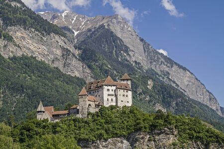 liechtenstein: Gutenberg Castle is a medieval castle high over  the town of Balzers in Liechtenstein Stock Photo