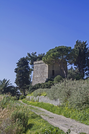 pista: When driving on the Pista ciclabile Parco costiero between San Lorenzo and San Remo to get past the guard tower Torre Alegai