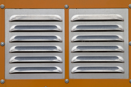 blower: Ventilation grille in front of the engine of a powerful snow blower