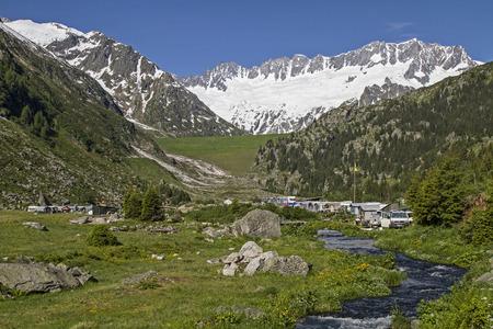 brooks camp: Camping in Goschen valley in Central Switzerland