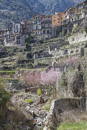 garden settlement: Tende - village and gardens line terraced up the hill