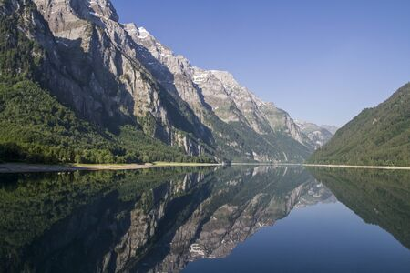 glarus: The Lake Klöntal is incurred by a landslide lake in the canton of Glarus in Switzerland