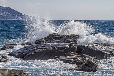 hydropower: Moving swell in Bordighera on the Italian Riveira