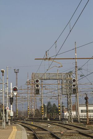 masts: Rail transport - tracks, switches and signal masts on an Italian train station
