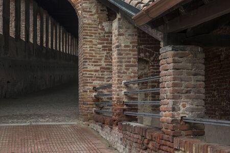 castello: Detail of Castello Sforcesco in Vigevano