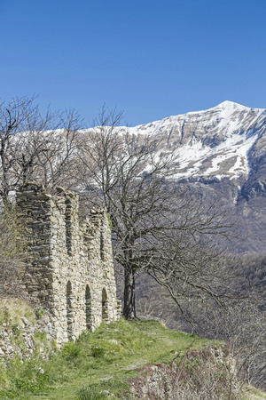 apennines: Church ruins in the small historical village of Triora in Ligurian Apennines