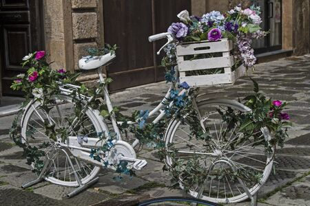 decorated bike: Decorative Ladies bike adorned with flowers