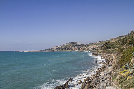 pista: When traveling on the Pista ciclabile Parco costiero between San Lorenzo and San Remo you can enjoy these magnificent views of the coast Stock Photo