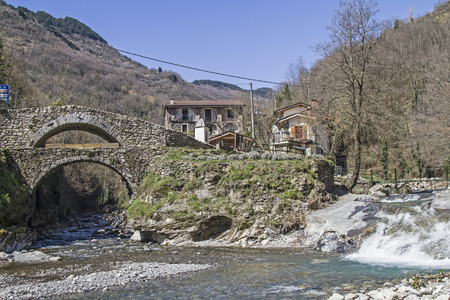 Double arched bridge in the village of mills Molini di Triora