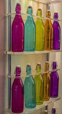 glass bottles: Colorful glass bottles