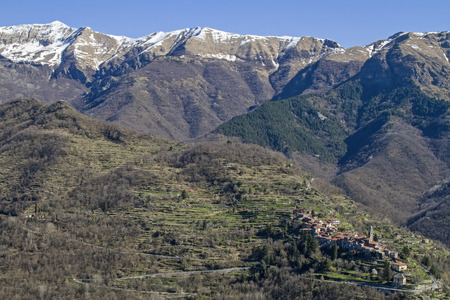 apennines: Ligurian Apennines with mountain village in the Val Argentina