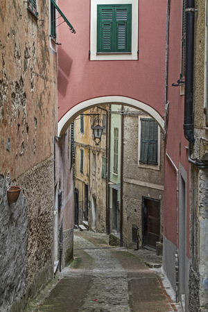 castel: Impressions and details from the small Ligurian village of  Castel Vittorio Stock Photo