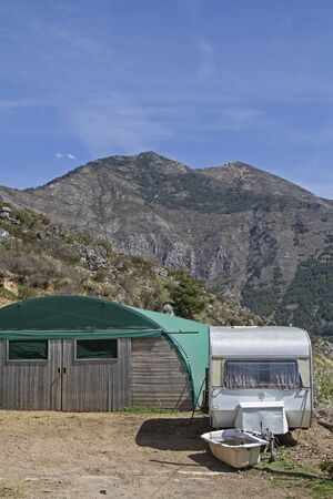 sheepfold: More expedient Sheepfold with mobile shepherds hut in the French Roya Valley Stock Photo