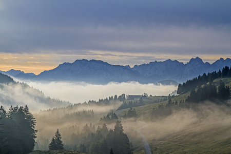 kaiser: Early morning on Sudelfeld - views of the Inn Valley and the Kaiser Mountains Stock Photo