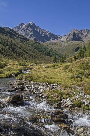 gush: Mountain creek in the Oetztal Alps near the Innerbergalm Stock Photo