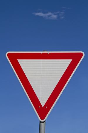 give the way: Right of way grant - often mounted at junctions give way sign