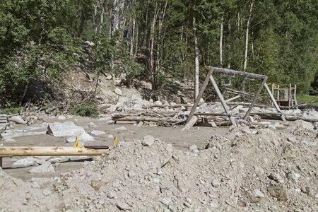filth: Mudslide in the Oetztal valley spilled playground Stock Photo