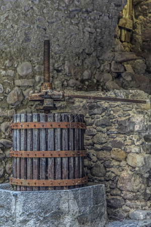 winepress: Impressions and details from the small Ligurian village of Torri Stock Photo