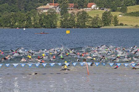 disciplines: Triathlon - competitive sport consisting of three different disciplines Stockfoto