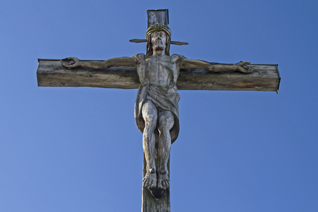 piety: Summit cross at  Kofel in the Ammergau Alps