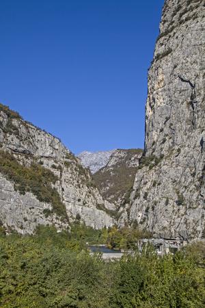 stillness: The Sarca river meanders through a vast and impressive gorge Stock Photo