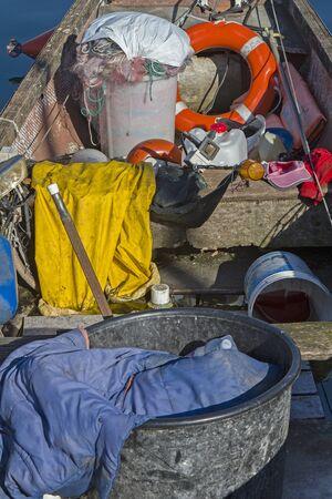 look inside: Look inside of a fishing boat on Lake Garda Editorial