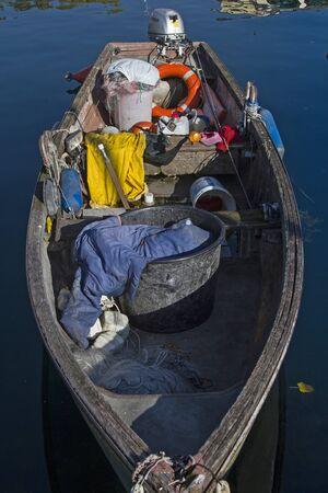 look inside: Look inside of a fishing boat on Lake Garda Stock Photo