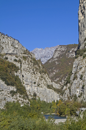 meanders: The Sarca river meanders through a vast and impressive gorge Stock Photo