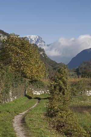 Autumn landscape in Cavedine valley southwest of Trento