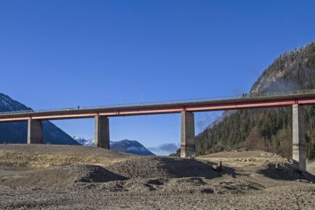 drained: Gorge Bridge over the empty reservoir Sylvenstein in Upper Bavaria