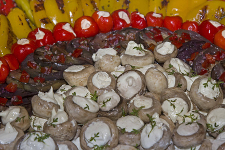 antipasti: Dish with various antipasti vegetables on a festive buffet Stock Photo