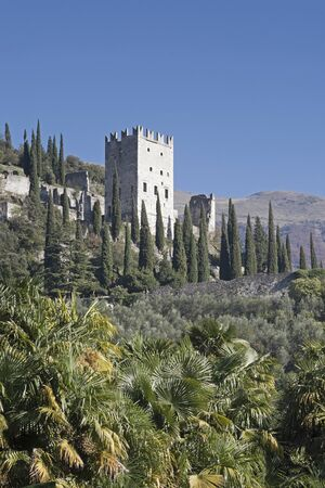 mediaeval: On the castle rock in the old town of Arco are the remains of the mediaeval Castle Editorial