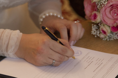 covenant: The signature of the newlyweds at the wedding sealed the marriage covenant