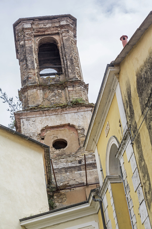 hinterland: The church of Dolcedo Ligurian inland, like many other historic buildings in need of renovation Stock Photo