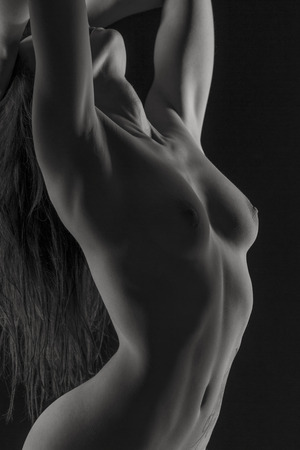 partially nude: Erotic Detailed view of the female body of a young woman Stock Photo