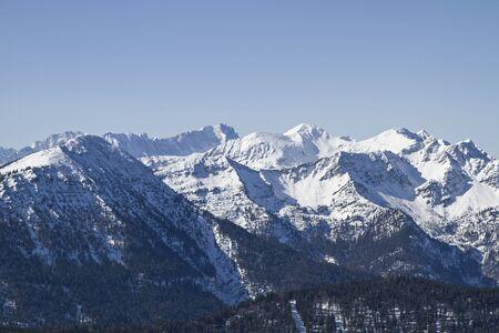 zugspitze mountain: Overlooking the Wetterstein Mountains and the mountain  Zugspitze and Alpspitze Stock Photo
