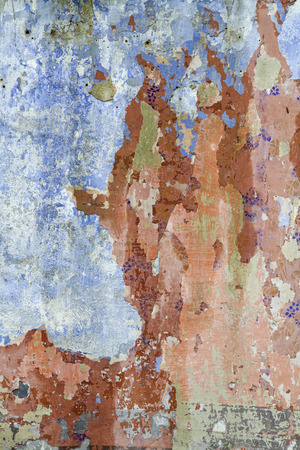 expire: Wall with paint residues - Detail of a former now dilapidated apartment building in a small village of the Istrian peninsula