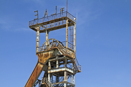Old headframe of a disused coal mine in Labin in Istria Stock Photo