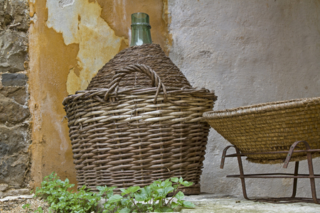 Well protected - wine bottle in basket
