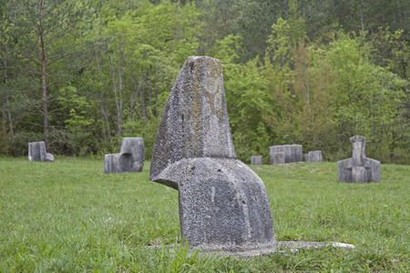 hum: The Glagolitic Alley is a monument to the Glagolitic, the oldest Slavic script. and performs more than 6 km from Ro? to Hum in Istria Stock Photo