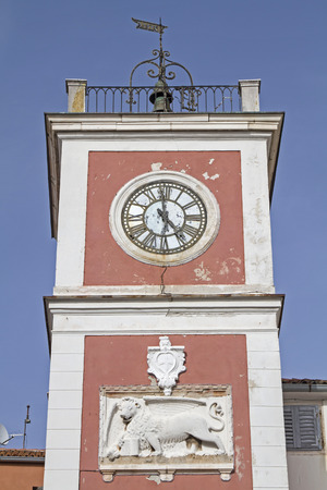 town square: Town square of Rovinj with its famous red clock tower