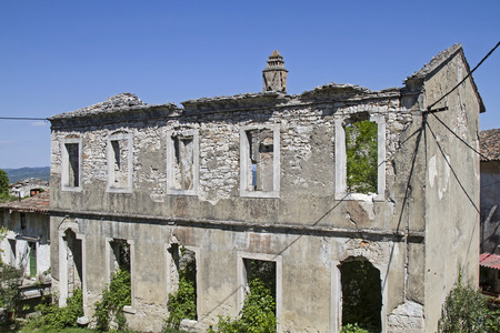 stately home: The ruin of a once stately home overlooks the site of the small Istrian village Krsan