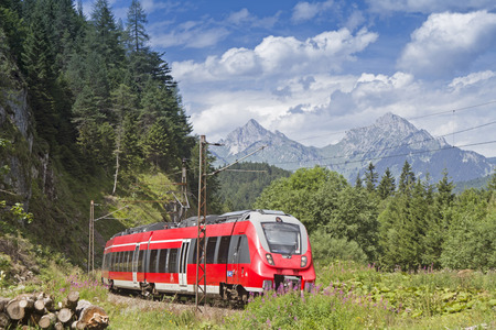 Rail transport in Tyrol - by train to the resort Stock Photo