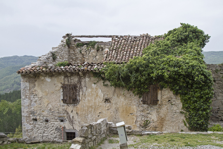 Abandoned and dilapidated houses idyllic overgrown with plants characterize the idyllic landscape