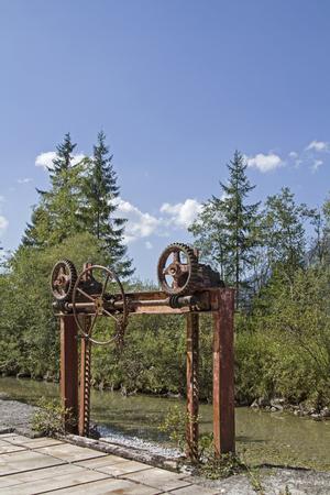 splint: Equipo antiguo de cámara de aire en el Ammer en el valle de Graswang