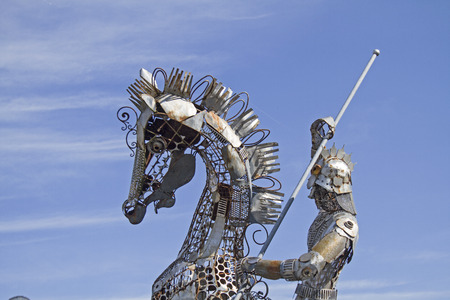 St. George slaying the dragon  - Idiosyncratic design of the roundabout at Niederndorfer border crossing Editorial