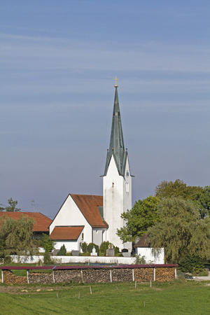 Church of St. Peter and Paul in Kirchbichl, a small village near Bad Toelz Stock Photo