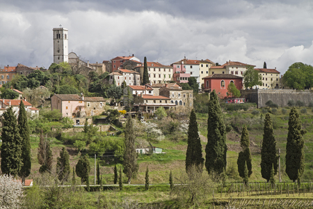 Oprtalj - idyllic small town on a hill in central Istria Reklamní fotografie
