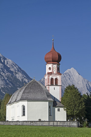 The church, the landmark of the scenic Tyrolean village of Leutasch