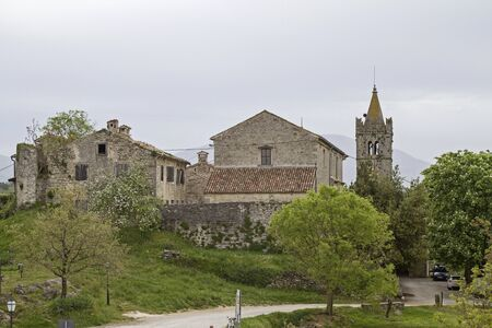 Hum in Istria is considered at present with about 30 inhabitants, the smallest city in the world Stock Photo